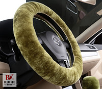 australian material - Cheap Car Steering Wheel Covers Skidproof Steering Wheel Covers for All Cars Australian Wool Material Plush Wool Protective Car