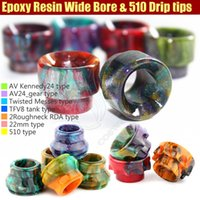 Wholesale 7 types Drip tip Epoxy Resin Drip Tips Short Drip Tip RDA RBA Atomizer Vape Colorful Wide Bore Mouthpiece unique flower design