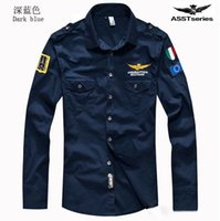 Wholesale 2016 autumn new arrive Air Force One MA1 men s shirts Casual shirts long sleeve shirts NAVY