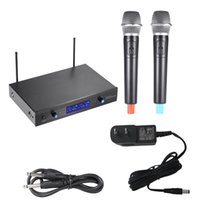 audio displays systems - 2 Channnel Handheld Wireless UHF Microphone Mic System Microphones Receiver LCD Display with mm Audio Cable Power Adapter DHL I1819