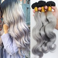 Cheap 7A Sliver Grey Ombre Human Hair Extensions 3Pcs #1B Grey Hair Body Wave Two Tone Ombre Peruvian Hair Weaves