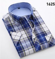 best blouse quality - Fashion Plaid Men Cotton Short Shirts Hot Sale Summer Men Shirts Short Blouse For Male Best Quality Men Top Big Size Shirts