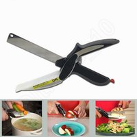 Wholesale Clever Cutter in Kitchen Scissors Stainless Steel Knife Cutting Board Scissors Kitchen Food Cutter for Meat Vegetable QQA287