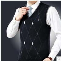 argyle sweater vest - Men Sweater Vest Diamond Argyle Pattern New Arrivals V Neck Cotton
