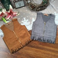 denim waistcoat - Hug Me Girls Vest Coat Waistcoat kids New Autumn sleeveless Fashion Beautiful Fashion Denim Vest AA