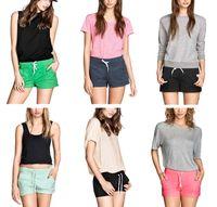 Wholesale Fashion street Women s side pocket Drawstring elastic waist casual sporty shorts
