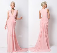 beck light - Inspired Pink Deep V Beck Prom Dresses Cheap Pleated Zipper Back Floor length Long New Evening Party Formal Pageant Dress Gown Custom
