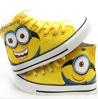 Wholesale Cartoon Children Fashion Hand Drawing Sport Canvas Sneakers Boys Girls Cartoon Graffiti Minions Casual Board baby kids Shoes