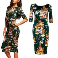 Wholesale 2017 New Vintage Sheath O Neck Pencil Bodycon Women Dresss Green Print Autumn Stain Work Office Shirt Dress Robe Sexy In Stock FS0390