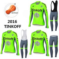 bank thermals - 2016 Green Fluorescence Tinkoff Saxo Bank Cycling Jerseys Autumn None Fleece Winter Thermal Fleece Long Sleeves Bike Wear Size XS XL