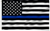 Wholesale DHL free Blue Line USA Police Flags x150 cm By Foot Thin Blue Line USA Flag Black White And Blue American Flag With Brass Grommets