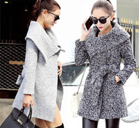belted tweed coat - Fashion Korean Women Turndown Collar Slim Wool Coat Lady Elegant Tweeds Trench Coat Woolen Overcoat Winter Outerwear With Belt