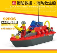 Cheap 92PCS Fire Rescue Builing Blocks Fire boats City Fire Station Truck Helicopter Firefighter Minifigure Building Blocks Bricks Toys