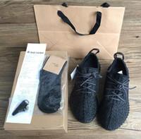 al por mayor bolsa de deporte de los zapatos-350 zapatos de entrenamiento de las zapatillas del alza Zapatos de entrenamiento de las mujeres y de los hombres de la manera que calzan las botas bajas de Kanye West (Keychain + Socks + Bag + Receipt + Box)