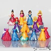 belle clothes - DHL Sets Princess Figures Snow White Aurora Ariel Belle Rapunzel PVC Action Figure Toys Dolls Clothes Changeable cm