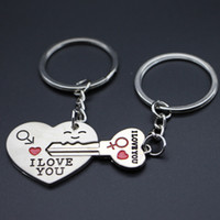 ad zinc - Lover Heart and Key Keychains Pair English Expressing I Love You for Wedding Gift or Promotion Ads Gift Keychain2016