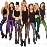 achat en gros de impression jeggings sexy des femmes-Femmes Jambières de sirène Mode Échelles de poissons Collants Maigrir Gym Leggings imprimés Sexy Sports Black Milk Pencil Calabres Snakeskin Jeggings D67