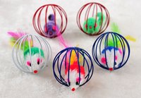 Wholesale Cute Cat Cage Mouse Toy cm Diameter Ball Shape Pet Cat Fur Mice Toys Shipping by DHL