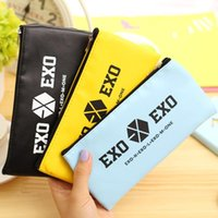 Wholesale EXO kawaii pencil case Cute candy color PU leather stationery pouch bag School pencil case for girls office school supplies
