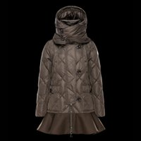 argyle cap - Winter jacket Lady warm coat High collar with cap Skirt Button and zip High quality brand Light overcoat