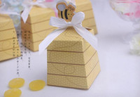 bee gift box - 2016 new honey bee baby Shower candy box birthday party decorations kids gifts box bee wedding favor box wedding decoration