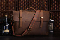 Wholesale Vintage genuine leather man messenger bag men briefcase laptop shoulder bag