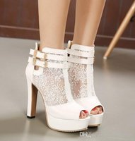 ballet c - Elegant Bridal Wedding Shoes Lace Wedding Boots Summer Hollow Out Platform Shoes Party Evening size to