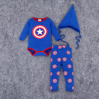 baby captain hat - 2016 Baby boys clothing Outfits Captain America shield Toddler clothing Romper pant sharp hat Onesides Boutique Autumn cotton Quality