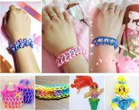 Wholesale 2015 promotion Colorful Loom Bands Looms Colar Rubber Bands Loom Bracelets bands clips Hook On Stock