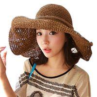 Wholesale Fashion Woman Ladies Bohemia Sun Beach Hat Straw Hat Wide Brim Roll up Sun Visor Hand Crocheted for Holiday Travel QJ