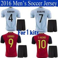 Wholesale 2016 Belgium Euro jersey Kit DE BRUYNE LUKAKU home red away blue FELLAINI E HAZARD KOMPANY Shirts uniform