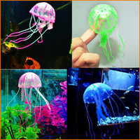 Wholesale Lovely Artificial Vivid Swim Jellyfish Silicone Fish Tank Decor Aquarium Decoration Ornament Small Size With Retail Packaging Box