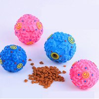 Wholesale 2016 New Pet Dog Cat Food Dispenser Toy Ball Squeaky Giggle Quack Sound Training Toys Chew