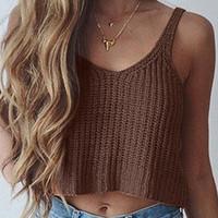 Wholesale 2016 Summer Women Camis Clubwear Fashion Spaghetti Strap O neck Knitting Sexy Crop Tops Sleeveless T Shirt Women Tank