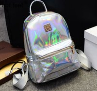 Wholesale 2016 Hologram Laser Backpack Girl School Bag Women Multicolor Metallic Silver Laser Holographic Backpack GD