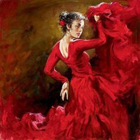 Wholesale Genuine Pure Hand Painted Female Portrait Oil Painting On Canvas Sexy young girl Crimson Dancer dancing