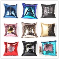 Wholesale Double Sequin Pillow Case cover Glamour Pillowcase Square Pillow Case Cushion Cover Home Sofa Car Decor Mermaid Bright Pillow Covers B0632