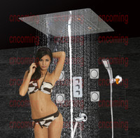 bath shower wall panels - Bathroom Shower Set with LED Ceiling Shower Head Brass SpoutThermostatic Concealed Panel Bath Shower Product Rain Waterfall Bubble CS5307