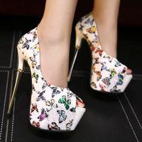 feather butterflies - 2016 butterfly PU leather high platform peep toe high heel pumps women wedding shoes size to