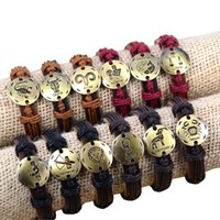 Wholesale Fashion Constellations charms Silver Bronze Alloy Genuine Leather Bracelets Men Women Bracelet