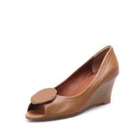 Wholesale Brand Girl s Footwear Genuine Leather CM Wedge High Heel Peep Toe Dress Pumps Wedges Office Lady Women Shoes Sz