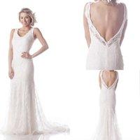 Wholesale 2017 Scoop White Lace Vintage Sheath Court Train Wedding Dress Beach Arabic Bridal Dresses Plus Size Vestido De Noiva Backless Gowns
