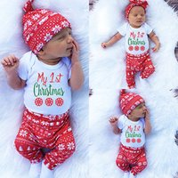 Wholesale Baby Clothing Sets Boys Girls Top short Romper Pants Sets Newborn Baby Hat Outfits Suits Christmas Clothes Clothing Bow Hat HH S10