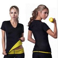 Wholesale New shapers women Neoprene T Shirts shaper stretchy Sweating slimming shirt Workout Women Body Shaper T Shirt simple design