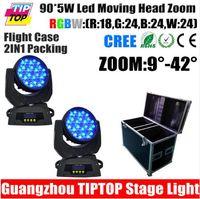 american brightness - 2in1 Flightcase Pack x5W Led Moving Head Light American Disco Dj Cree High Brightness LED Silent Zoom Motor Fan Cooled CE ROHS