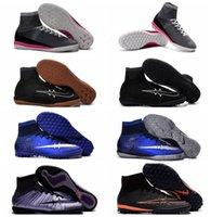 Wholesale MercurialX Proximo II IC TF Turf Football Boots Mercurial Superfly CR7 Cleats Futsal Soccer Boots Mens Soccer Cleats New Indoor Soccer Shoes