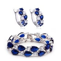 bella jewelry set - BELLA Hot Sale White Gold Plated Mona lisa Sapphire Dark Blue Earring and Bracelet Jewelry Sets For Fashion Women