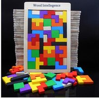 Wholesale Wooden Quality Tangram Brain Teaser Puzzle Tetris Preschool Magination Child Wood Intellegence Toy Best Gift For Baby