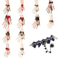 agate cameo - 1Pc Gothic Lolita Cameo Black Lace Flower Chain Bracelet Ring Set Women Jewelry
