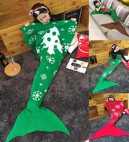 Wholesale Christmas Mermaid Blankets cm Knitted Mermaid Tail Blankets Christmas Blanket Cartoon Kids Blankets Wraps Christmas Gifts